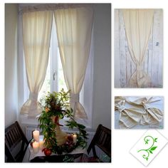 Oryginal natural ecru , beige curtains. Decorated with cotton lace. Beautiful window decoration. Perfect for rustic, vintage, chabby chic and cottage  interior. Made of natural cotton blend fabric with linen and elana