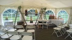 Marquee set up on grassy area for marriage ceremony