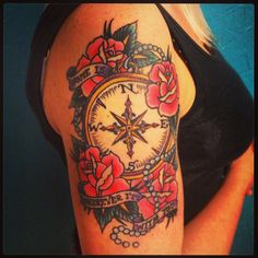 Nautical Flower Tattoo American Tattoo Style Traditional Tattoo Sayings Flowers And Compass Tattoo Traditional Compass Tattoo, Traditional Rose Tattoos, Traditional Roses, Trendy Tattoos, Tattoos For Women, Body Art Tattoos, Sleeve Tattoos, American Traditional Rose, Blackwork