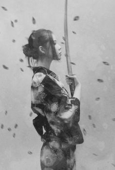 Geisha, samurai, sword, pretty, black and white