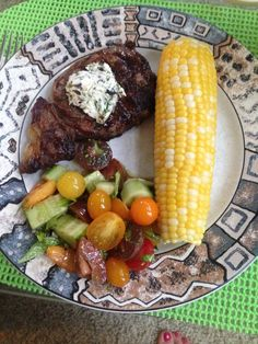 Ribeye Steaks with herbed compound butter, farmer's market fresh corn, and heirloom tomato, cucumber, & basil salad