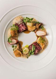 A4 wagyu, lobster, sunchoke, bordelaise, Parisian gnocchi, bisque.
