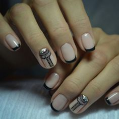 Accurate nails, Black and beige nails, Black dress nails, Black french manicure, Business nails, Evening french manicure, Exquisite french manicure, Fashion nails 2017
