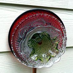 Garden art, glass flower, vintage glass, Fenton glass, cranberry glass, suncatcher, sun catcher, yard sculpture, wall  fence decor, yard art