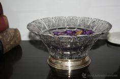 Frutero cristal de Bohemia con pie en Plata Madrid - Foto 1