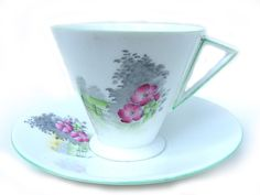 """Art Deco 1930's Shelley """"Eve"""" Hand-Painted Floral Sunset Tea Cup and Saucer Duo - Pattern 2165 - £59.99 FREE UK Delivery"""