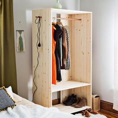 Modern Wooden Wardrobe DIY - A Beautiful Mess Adjust the measurements to make this child sized, and you have the perfect DIY wardrobe for a Monte Wooden Wardrobe, Diy Wardrobe, Wardrobe Design, Wardrobe Clothing, Clothing Armoire, Wooden Closet, Simple Wardrobe, Bedroom Wardrobe, Boys Bedroom Furniture