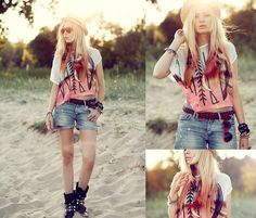 Young, wild and free ♡ (by Lina ♡) - H Shorts, Chicwish Shirt, Jfr Feather Earing, Sunglasses, Topshop Ring