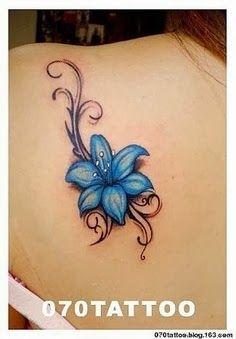 blue flower with black tattoo - Google keresés