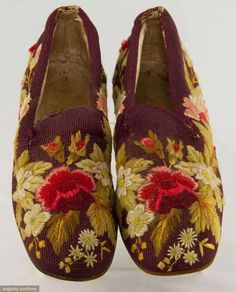 Augusta AuctiMan's Berlin Work Slippers, 19th Burgundy wool with embroidered wool & silk flowersons