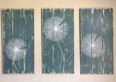 Dandelion Distressed Wood Triptych Signs in Any Color Rustic