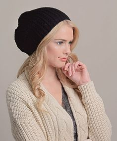 Look at this #zulilyfind! Leto Collection Black Pointelle Slouch Beanie by Leto Collection #zulilyfinds
