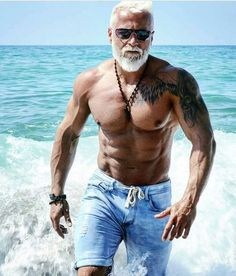 "Fit over 60- not bald but ridiculous for an older guy. I'm betting he's not ""natty"""