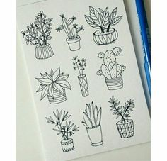 25 Easy Doodle Art Drawing Ideas For Your Bullet Journal Doodle art and bullet journals go hand in hand. Discover 25 easy doodle art drawing ideas for your bullet journal. Learn how to draw the perfect doodle. Easy Doodle Art, Doodle Art Drawing, Plant Drawing, Art Drawings, Drawing Ideas, Cactus Drawing, Learn Drawing, Cool Easy Drawings, Doodle Pages