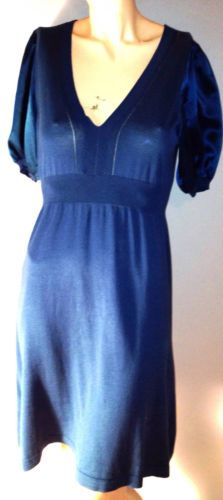 BCBG Max Azria Sweater Dress Sz S Silk Teal Blue Fit and Flare Thin Knit V-Neck