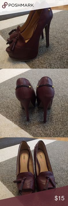 Wine colored platform heels Worn only once for my wedding rehearsal. In mint condition. A little dusty from sitting in my closet. JustFab Shoes Heels