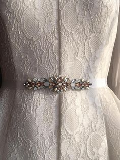Ivory Opal Rosegold and Pearl Crystal Embellished Grosgrain