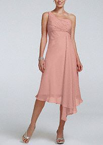 Timeless, elegant and chic, this short crinkle chiffon dress will be your bridesmaids new go to staple dress long after the wedding reception! One shoulder neckline features ultra-feminine ruched bust. Soft twist cascade bodice and asymmetrical hemline gives this dress a whimsical feel. Fully lined. Back zip. Imported polyester. Limited quantities now available at select stores; available to special order at all stores.A lightweight, gently-textured sheer fabric with a fluid movementAn…