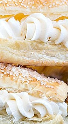 All the cream horn flavor without all the work! Puff pastry filled with cream horn filling. No baking tubes required. ❊ All the cream horn flavor without all the work! Puff pastry filled with cream horn filling. No baking tubes required. Cream Filling Recipe, Cream Puff Recipe, Cream Recipes, Puff Pastry Desserts, Puff Pastry Recipes, Puff Pastries, Donut Recipes, Cookie Recipes, Dessert Recipes