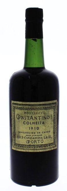 Garrafa de Vinho do Porto, Constantino´s, Colheita 1910, Doce-Aloirado, S.V.P. Constantino