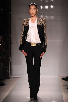 Ornate beaded Balmain jacket on the runway // What to expect from the H&M Balmain Collab: (http://www.racked.com/2015/7/29/9055095/hm-balmain-collaboration-predictions?utm_content=buffer312a4&utm_medium=social&utm_source=pinterest&utm_campaign=racked)