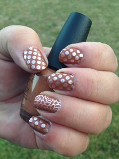 "Mother's Day nails!  Base: Opi ""a-piers to be tan"". Samp: Essie ""penny talk"" Plates:  Bundle Monster BM-XL01 for dots, Pueen 79 for roses."