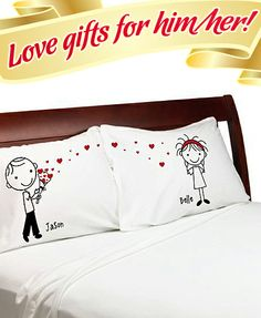 """""""Stick People"""" – Cute Heart Bouquet Couple Anniversary Pillow Cover Personalized Stick Figure Lovers Pillowcases, price: $29.95"""