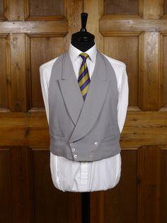 Vintage Dove Grey Wool D/B Backless Morning Waistcoat