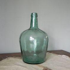 Green glass wine bottle demijohn  Vintage Viresa by jollytimeone