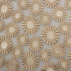 Designer Taupe Daisy Embroidered Tulle  (£249.90/metre) | Joel & Son Fabrics