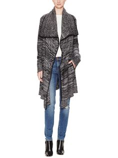 Cascading Cardigan with Faux Leather Piping from Fall Trend #5: Major Knits on Gilt