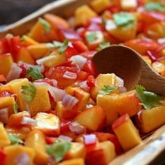 Peach Salsa - great on fish, chicken, pork or beef. Or just eat it up with a big old spoon and a smile!