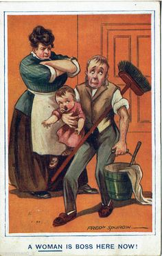 1925 Political Humour card Women's rights Vote Suffragettes WOMAN IS BOSS NOW