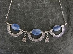 Silver necklace,Kyanite necklace, Yemenite  necklace,Israel jewelry on Etsy, $135.00