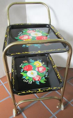 Vintage TV Tray Cart Black Floral Toleware Small Tea Stand Mid Century  Childs Serving Cart *