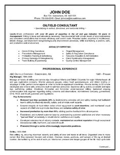 example of a oilfield consultant resume sample