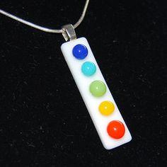 Rainbow Fused Glass Pendant