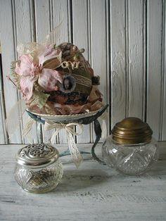 French Cottage Decorative Egg Pink Dogwood Flower China Dish Oxodized Metal Stand Burlap German Glass Glitter Ribbon Lace Frilly Romantic