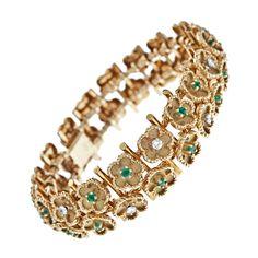 "1960's ""Buttercup"" Emerald and Diamond Bracelet"