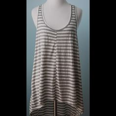WILT Gray White Stripey Tunic Top New With Tags L WILT Gray White Stripey Tunic Top New With Tags L Wilt Tops Tunics