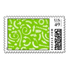 Green Scribbled arrows postage #postage #stamp #stamps #zazzle #geometric #abstract #arrows #color