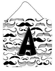 Letter A Moustache Initial Wall or Door Hanging Prints CJ2009-ADS66