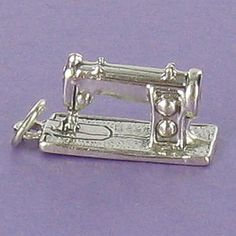 Sewing Machine Charm Sterling Silver for Bracelet Crafts Stitch Thread Quilting