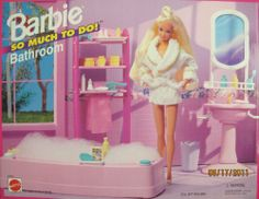"""Barbie So Much To Do Bathroom Playset (1995 Arcotoys, Mattel) by Arcotoys, Mattel. $29.99. For Box Condition see CONDITION NOTE or Email Seller for Details.. Included items are pretend & intended for Barbie & 11.5"""" fashion dolls; NO DOLLS included. Sizes, colors, styles & info may vary.. ASSEMBLY REQUIRED. For Ages 3+ Years. CAUTION: Small Parts Included. PLEASE check in CONDITION NOTE/Comments for the Box Condition.. Includes: Bathtub, Bathtub Caddy, Lavatory Sink, Shelv..."""