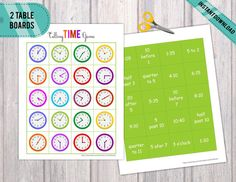 Telling Time Game, Practice whats is the time, Homeschool Activity, Educational Material, Digital Telling Time Games, Telling Time Activities, Preschool Printables, Binder, Card Games, Card Stock, Kindergarten, Homeschool, Coding