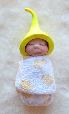 Polymer Clay Baby OOAK Yellow Elf Hat Midwife Gift New Baby Gift Swaddled | eBay