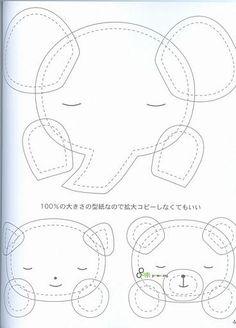 Sleepy elephant, cat, and bear Felt Patterns, Applique Patterns, Applique Quilts, Sewing Patterns, Patch Quilt, Felt Diy, Felt Crafts, Sewing Crafts, Sewing Projects