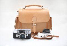 joydivision vintage Camera Bag / Leather Camera Bag / DSLR Camera Bag / Briefcase Camera Bag / Camera Case Bag Nature Color