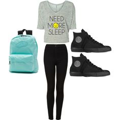 Cute school outfit for Tweens and teens by madisenharris on Polyvore featuring Topshop, Converse and Vans