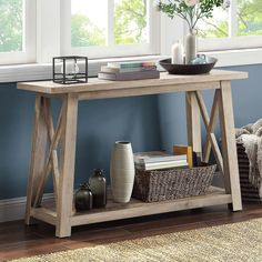 Better Homes & Gardens Granary Modern Farmhouse Console Table, Multiple Finishes Outdoor Console Table, Entryway Tables, Console Tables, Entryway Wall, Foyer, Classic House, Better Homes And Gardens, Modern Farmhouse, Farmhouse Decor